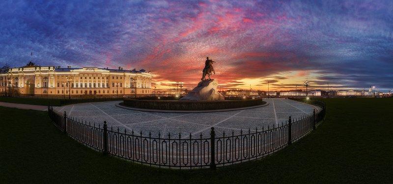 Панорама, город, закат, пейзаж, питер Весенний закат у медного всадникаphoto preview