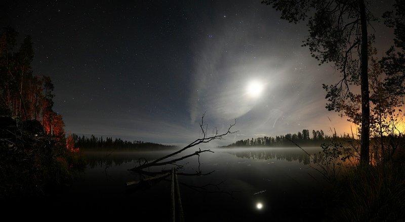 ночь звезды ночной пейзаж астрофотография млечный путь Осенние Лунно-мистическиеphoto preview
