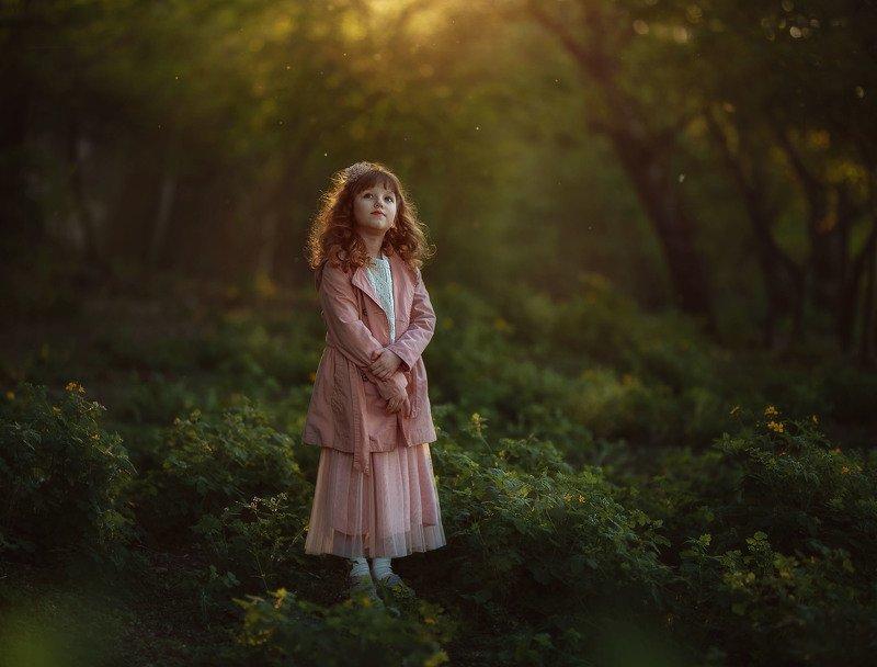 девочка ребенок детство вечер закат весна парк тепло Мушки прилетели...photo preview