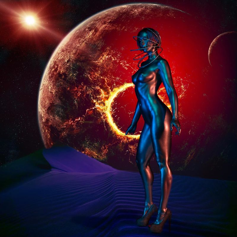 djfoto, nudevilnius, bodyart, bodypainting, metallography, metallic, manipulation Space fantasyphoto preview