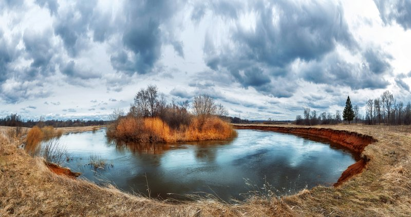 Река, изгиб, панорама, вода, пейзаж, весна, river, water, блока, Иж Река Ижphoto preview
