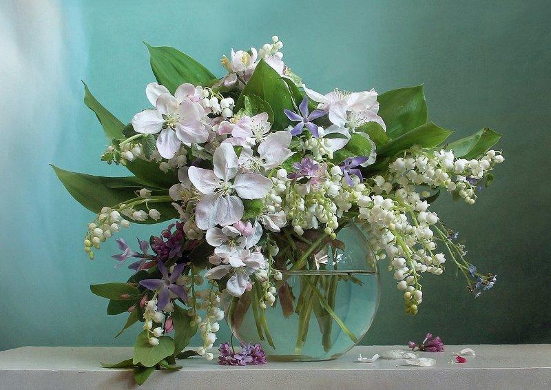 весна, натюрморт, букет цветов, ландыши, марина филатова В лазурных бликах нежностиphoto preview