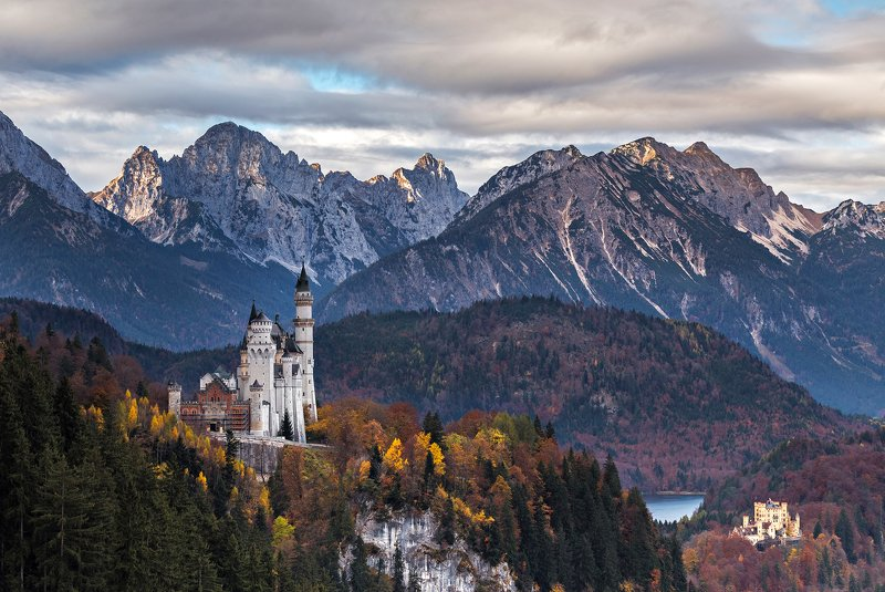 sunset, trees, autumn, castle, landscape, travel, nature, mountain, germany, cold, bavaria The Castlephoto preview