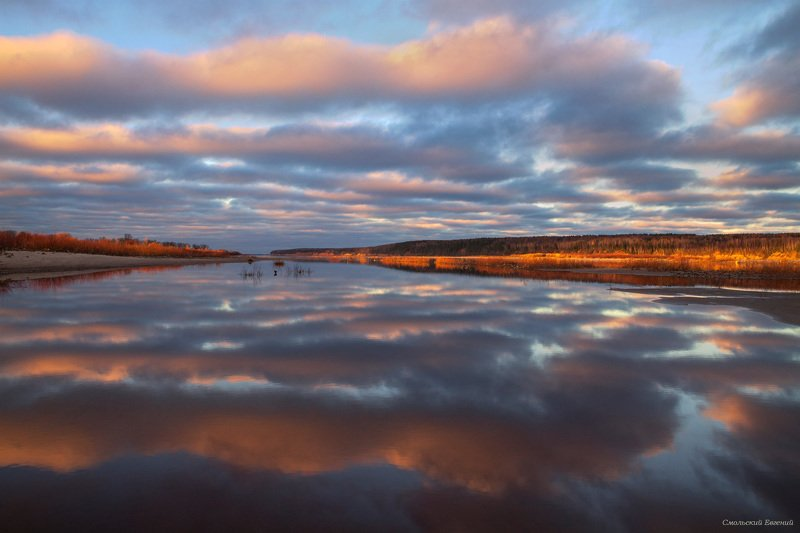 закат, река, вечер, северная двина, отражение, осень. Закатная симметрияphoto preview