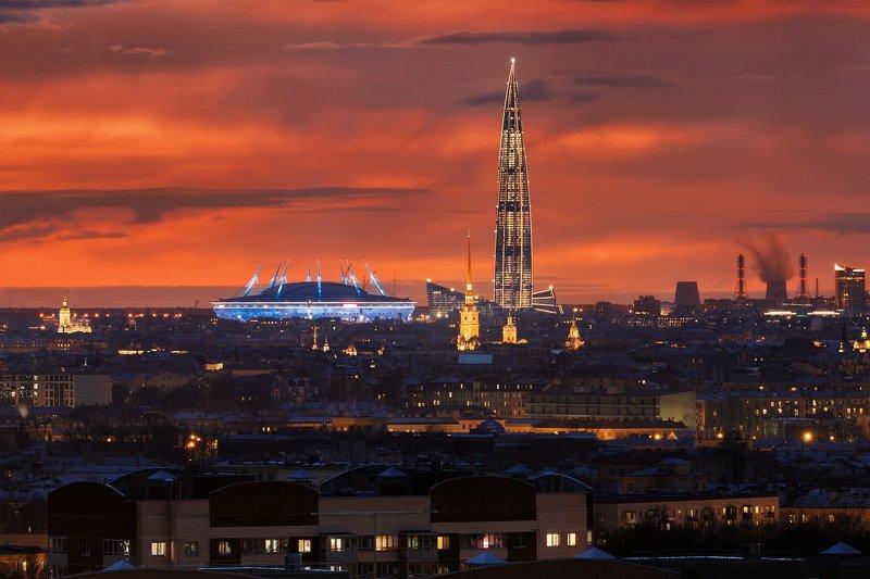 питер, телевик, закат, город Зенит-арена, Лахта-центр, Петропавловский соборphoto preview