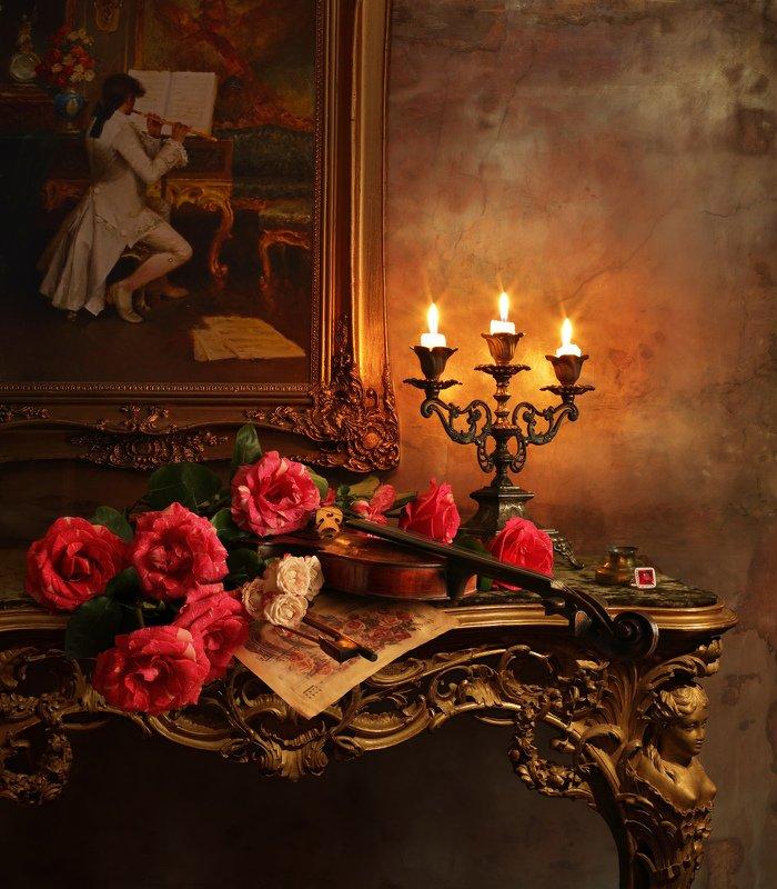 скрипка, натюрморт, свет, свечи, цветы, розы, красный, картина, музыка, история, культура Натюрморт со скрипкой и розамиphoto preview