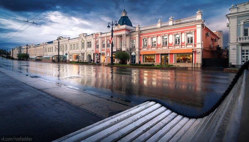 Омск, Россия, город, пейзаж, лавочка, Сибирь, архитектура, дождь Любинский проспект photo preview