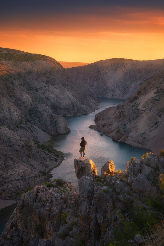 zrmanja croatia canyon rocks sunset clouds sky river hill  zrmanja фото превью