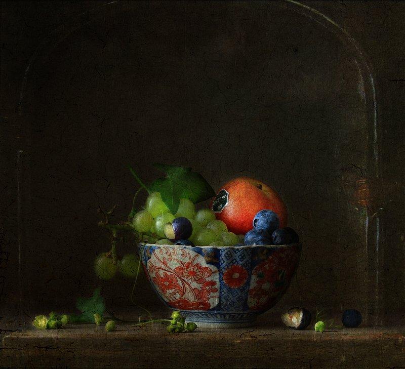 натюрморт Нектарин, виноград и голубика ..photo preview
