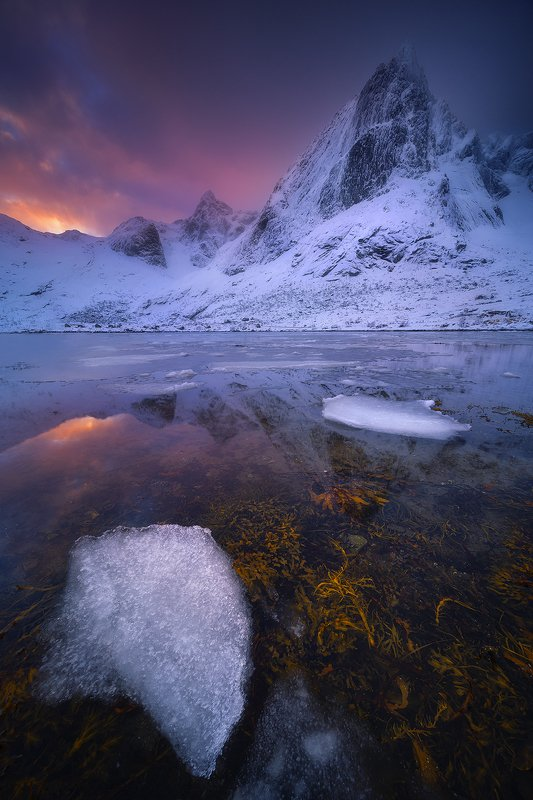 stortinden lofoten norway sunset winter snow ice landscape mountain reflection  stortindenphoto preview