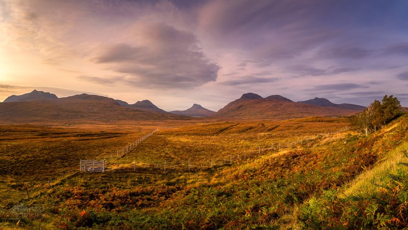 scotland,highlands,scottish,mountains,plains,sunset,colours,colorful,light, Pinks and oranges...photo preview
