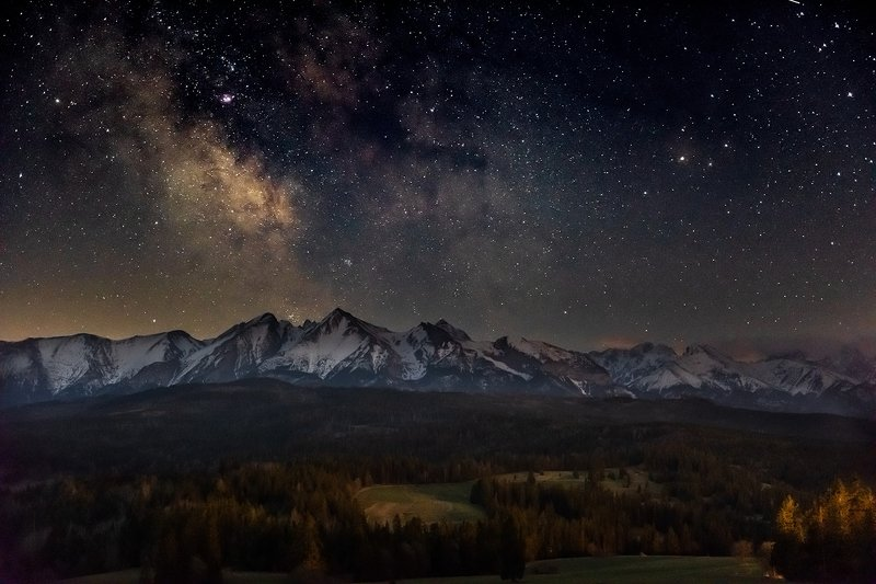 europe, mountains, slovakia, poland, stars, night Night in the mountainsphoto preview
