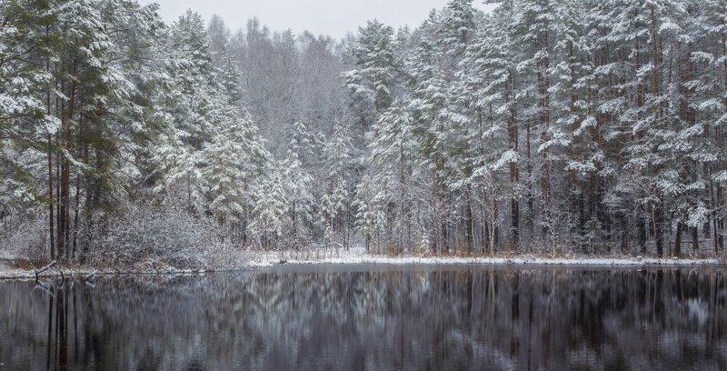 апрель снег вода озерцо отражение Притихлоphoto preview