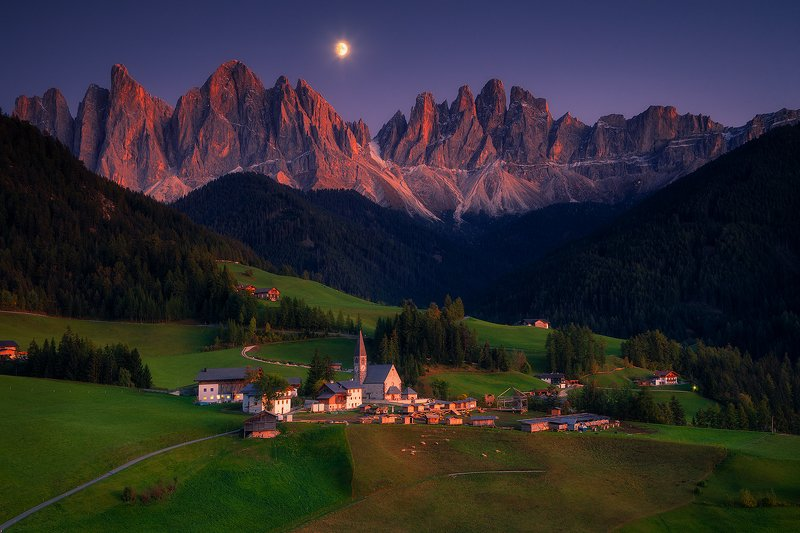 moon moonrising landscape mountain church night sunset village dolomiti dolomites italy europe  santa madallenaphoto preview