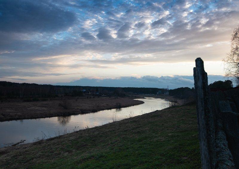 пейзаж, пейзажная фотография, пейзажи, тверская область, россия, река, тверца, закат, вечер, солнце, облака Река Тверца, Тверская областьphoto preview