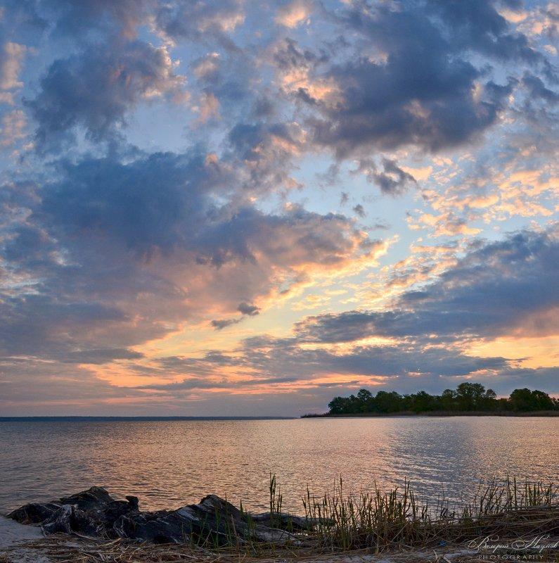 утро, рассвет, восход, весна, облака, река Про облакаphoto preview