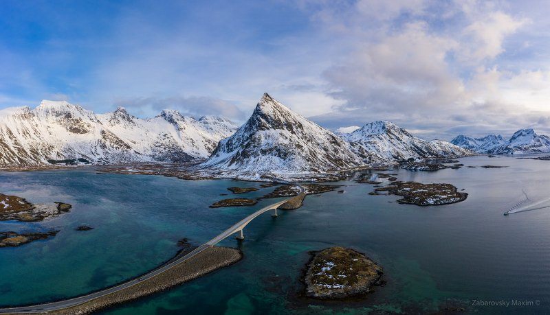 mountain, lofoten, winter, norway, bridge Fredvang bridge and Volandstind Mountain. Lofoten, Norwayphoto preview