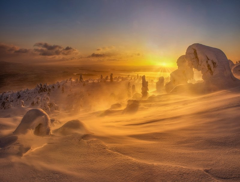 Snow sunrise фото превью