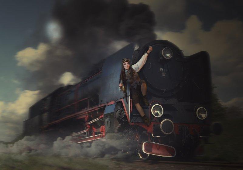 девушка, паровоз Назад в будущееphoto preview