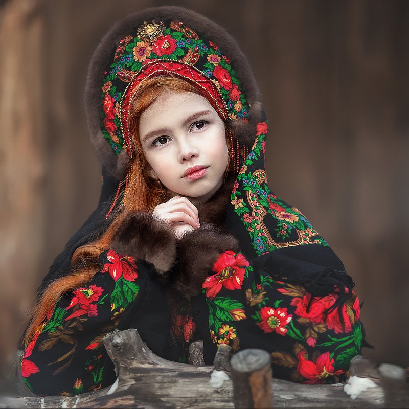 русский стиль. девочка  зима  кокошник   Барыняphoto preview