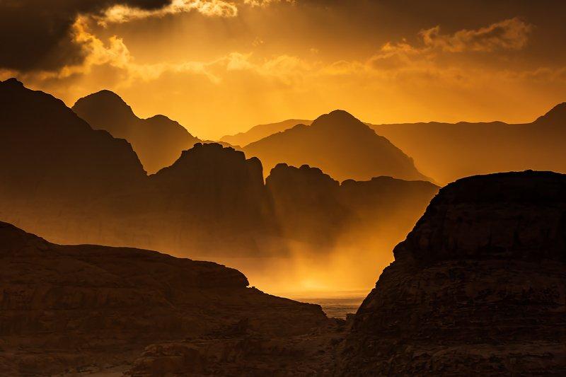 wadi rum, jordan, desert, sand, mountains, sun Windy morningphoto preview