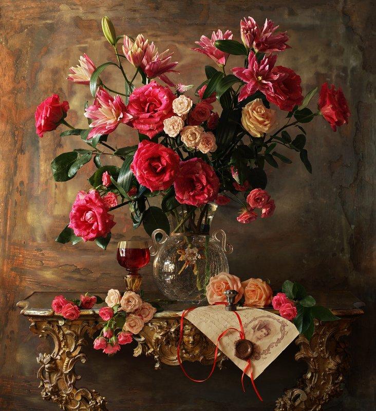 натюрморт, розы, цветы, букет, лилии Натюрморт с розамиphoto preview