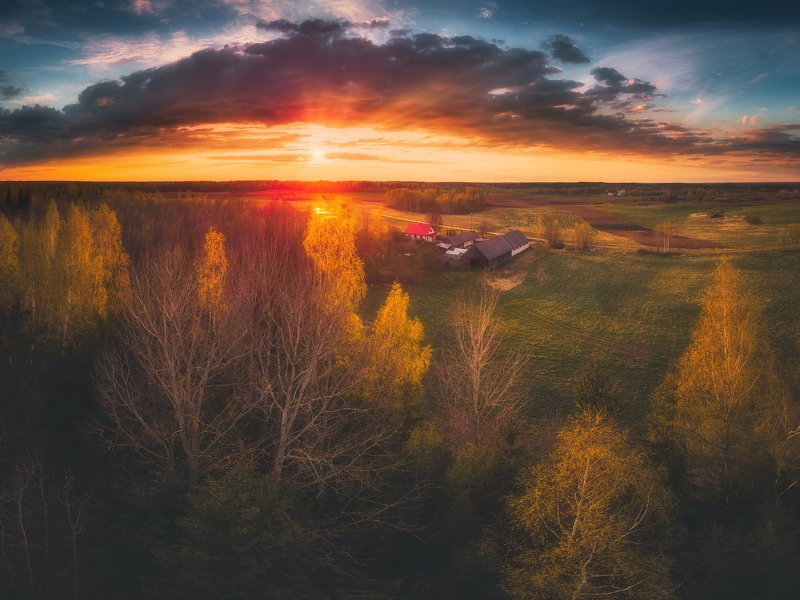 drone,landscape,sunset,panorama,clouds,spring,beautiful My childhood home photo preview