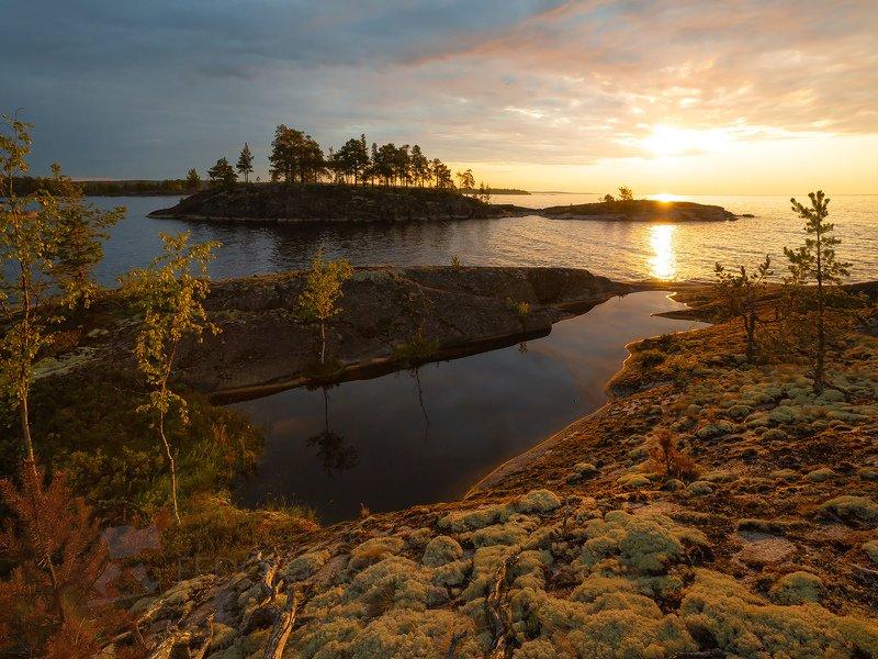 ладожское озеро, карелия, шхеры, лето, остров, берег, вода, рассвет, плавание, путешествие, сосна, берёза, облака, солнце, пруд, Встречая летний рассветphoto preview