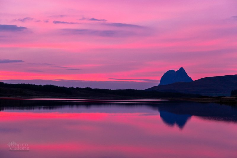 scotland,highlands,stac pollaidh,sunset,pink,dark,moody,landscape,reflections,mountain,sky, Minimalistic landscapephoto preview