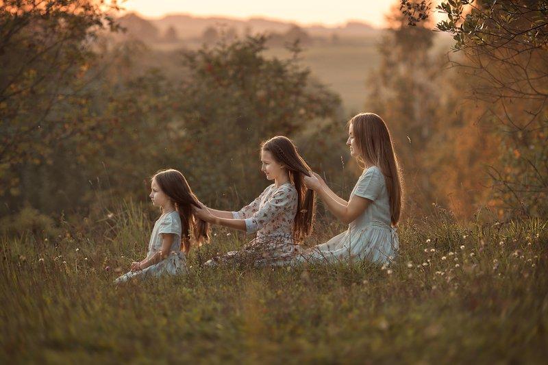 мама, девочка, закат, природа, лето Теплый вечерphoto preview