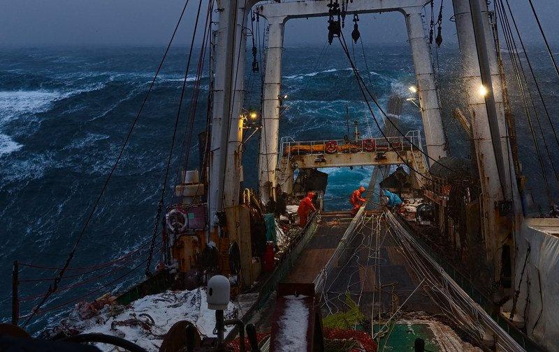 март, море, утро, шторм, охотское, корма, трал, палуба, волна photo preview
