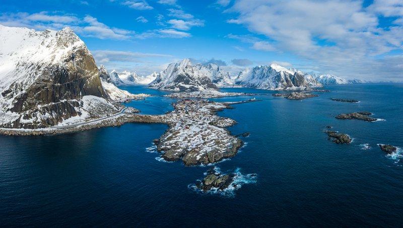 reine, lofoten, moskenes, aerial, winter, norway Reine, Lofotenphoto preview