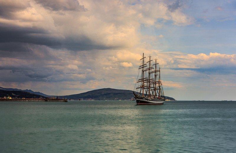 барк, парусник, море, небо, пейзаж Крузенштернphoto preview