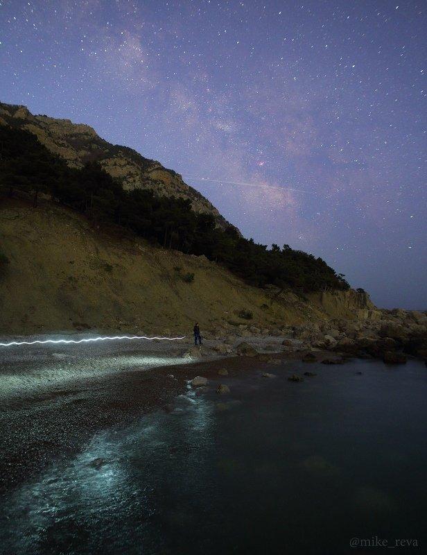 ночь крым ночной пейзаж астрофотография звезды созвездия На пляже Инжирphoto preview