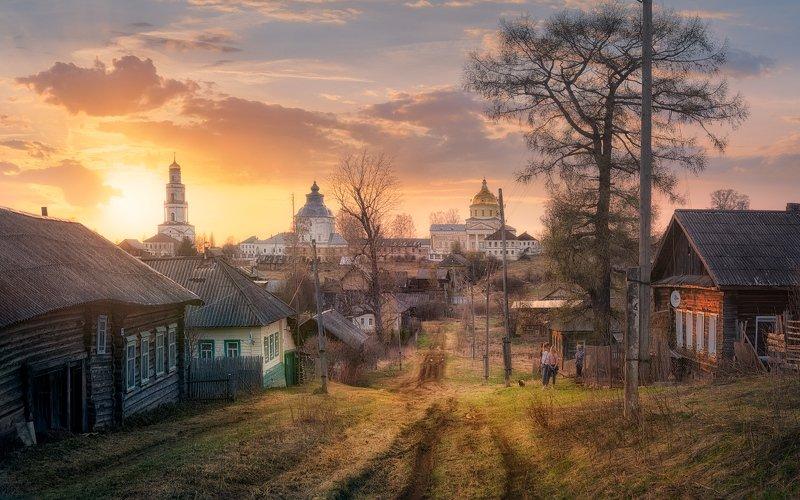 весна, закат, деревня, дорога Теплый вечер в Великорецкомphoto preview