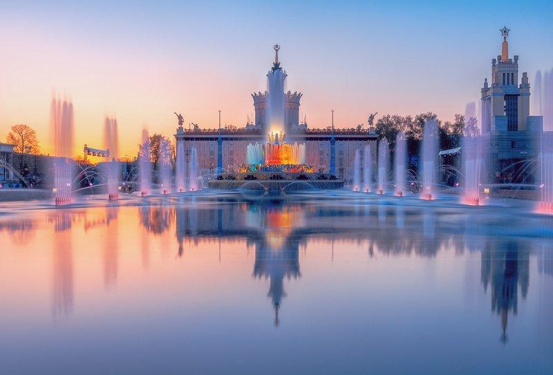 фонтан, москва, вднх, город, отражение, Фонтан \
