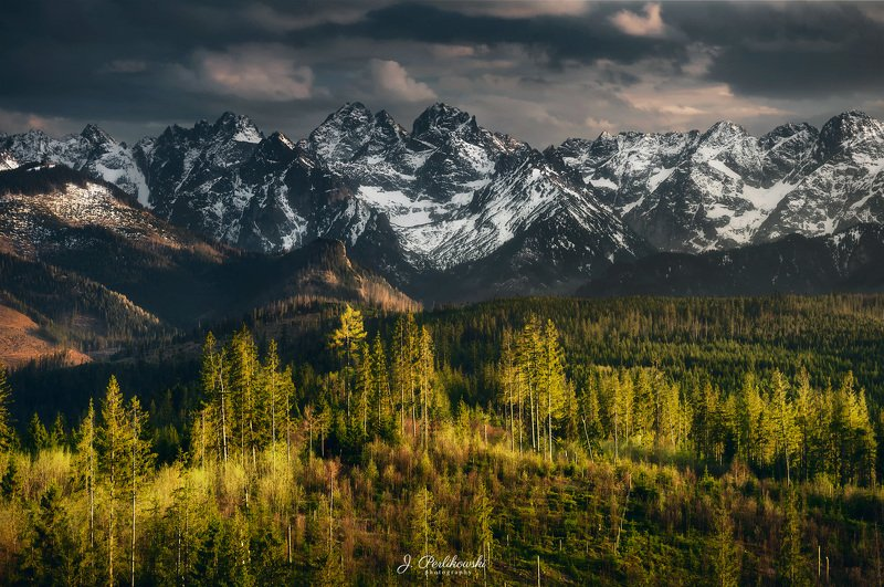 mountains, spring, sunset, warm light, colours, white mountains Spring beneath mountainsphoto preview