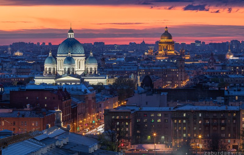 россия, петербург, санкт-петербург, город, вечер, весна, закат Троицкий и Исаакиевский соборphoto preview
