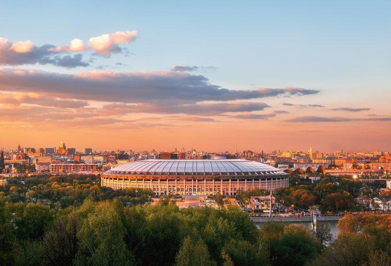 москва, закат, лужники Стадион Лужникиphoto preview