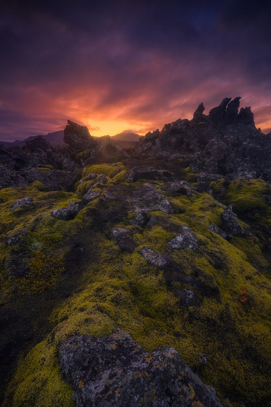 lava fields iceland sunrise clouds moss rock rocks landscape  lava fieldsphoto preview
