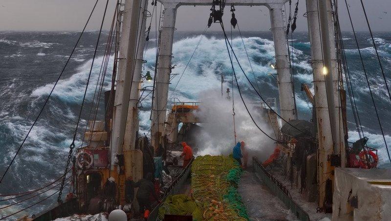 охотское море, утро, трал, палуба, весна 2020, сильный шторм photo preview