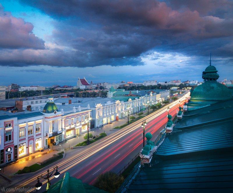 крыша, город, архитектура, закат, выдержка, шпиль, исторический, облака, омск, россия, открытка Открытка из Омскаphoto preview