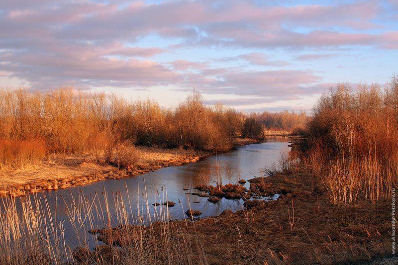 осень, небо, лес, река, закат photo preview