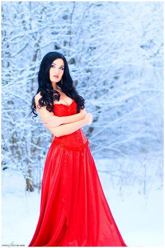 девушка, зима, лес, снег ***photo preview