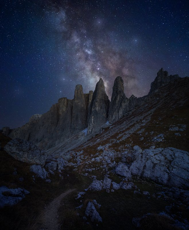passo sella dolomiti dolomites italy landscape night milky way stars  passo sella  фото превью