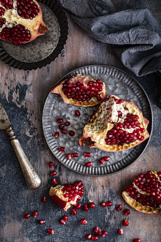 food photography fresh fruit pomegranate foodie still life flatlay Pomegranatephoto preview