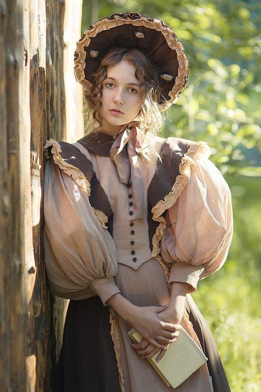 платье, 19 век, 1830, историческия, реконструкция, шляпка, девушка, барышня Ирина барышняphoto preview