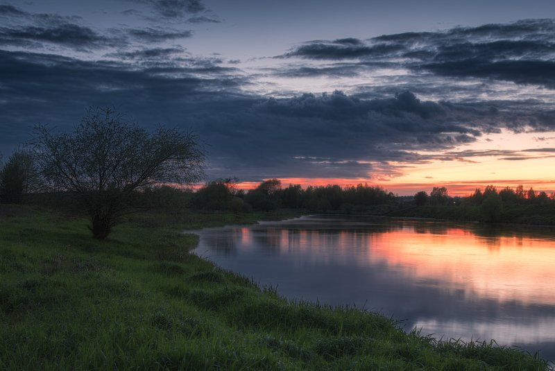 река, весна, пейзаж, закат, клязьма Вечер на Клязьмеphoto preview
