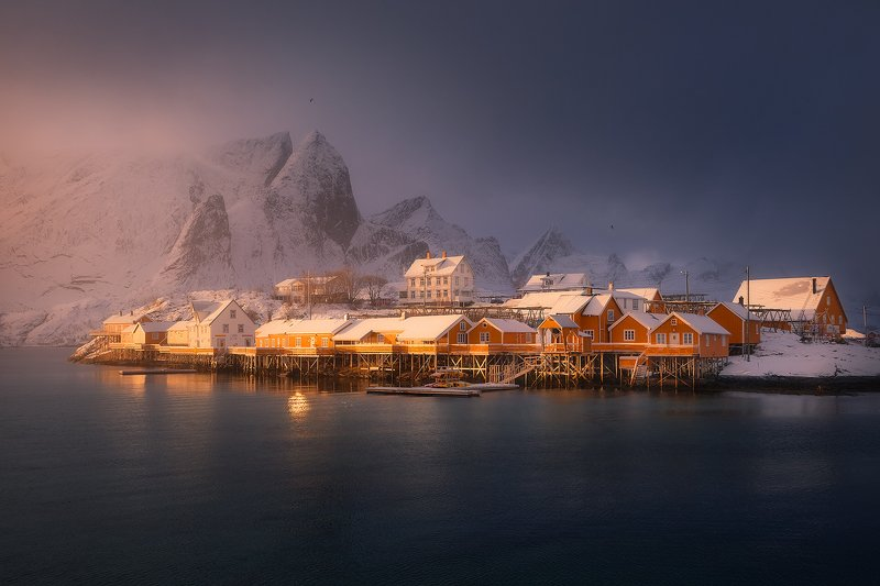 lofoten norway winter snow storm landscape  sakrisoyphoto preview