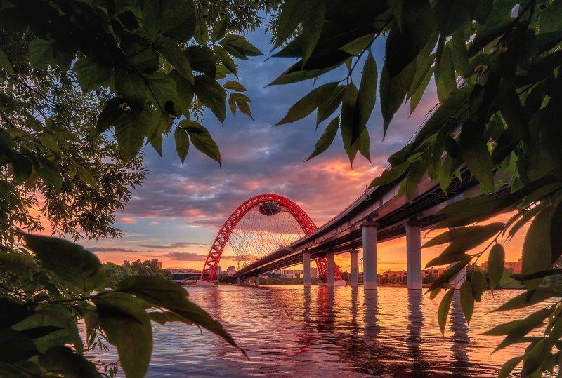 москва, мост, живописный мост, закат, framing, строгино Живописный мостphoto preview